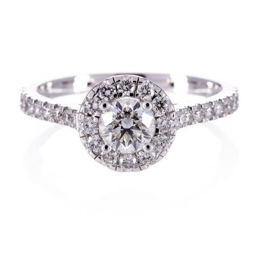 Diamond Engagement Halo Style Ring 18ct White Gold Round Brilliant 0.95ct TDW