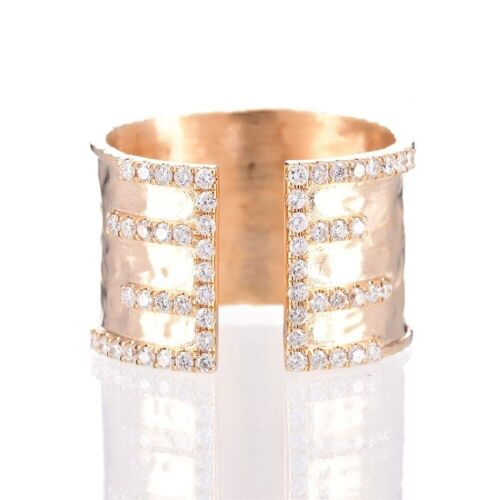 One ladies wide band textured style dress ring 14yg with 57 round diamonds TDW=0.45ct