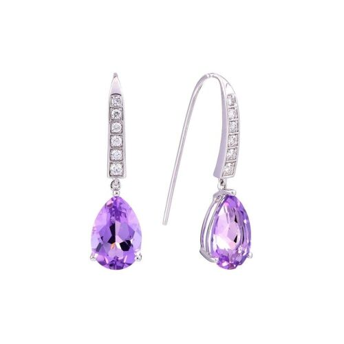 One pair of ladies 9ct White Gold earring with light purple Amethyst & 12 round diamonds TDW=0.26ct