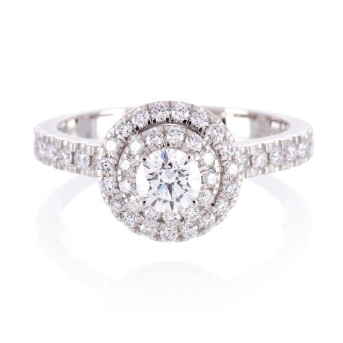 One ladies platinum double Halo engagment ring with 45 round diamonds TDW=1.04ct