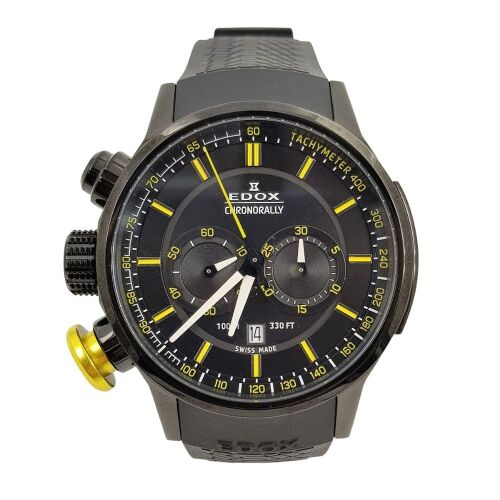 ERV $2400 - Gents chronograph water resistant with date window Edox Chronorally watch.