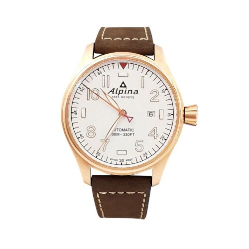 ERV $1950 - Alpina Startimer Pilot White Dial Automatic Men's Leather Watch