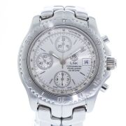 Retail Replacement Value $6,800.00 - One Authentic Gents Tag Heuer Chronometer Chronograph Link Automatic 1/10th Series wrist watch with a Silver dial.