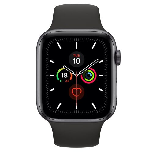 Apple Watch Series 5 44mm Space Gray Aluminum Case Black Sport Band - GPS