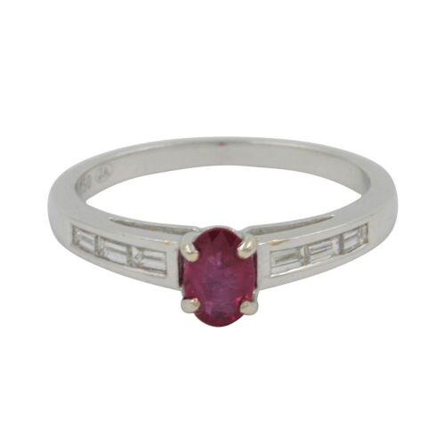 (DO NOT LOT) 18ct White Gold, 0.65ct Ruby & Diamond Ring