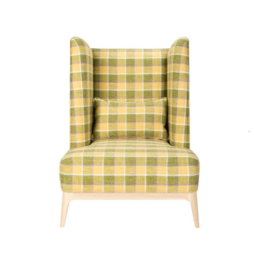 1 x Griffin High Back Armchair - Green/Yellow