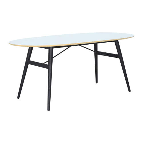 1 x Fleming Dining Table - White + Black