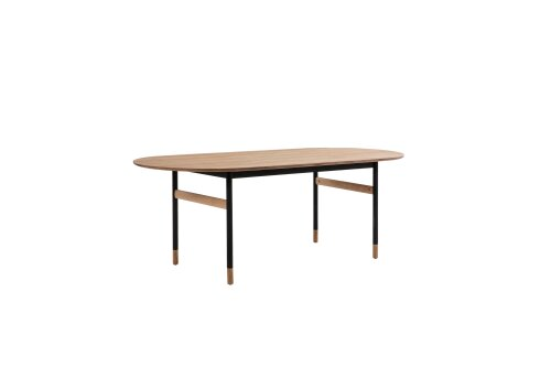 1 x Brasilia Oval Dining Table - Gold/Black Accents