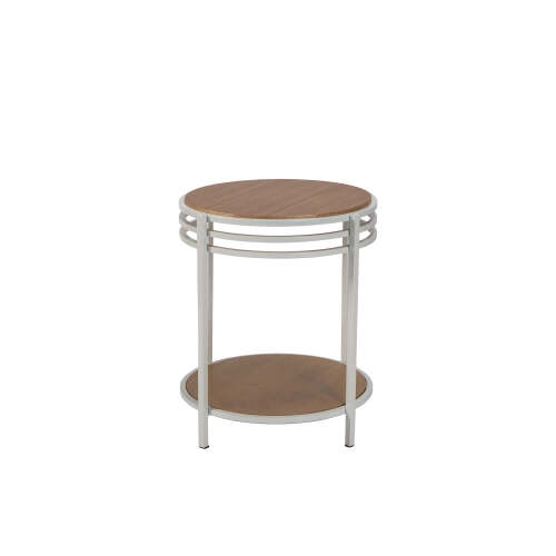 1 x Mini Side Table with Shelf - White + Natural
