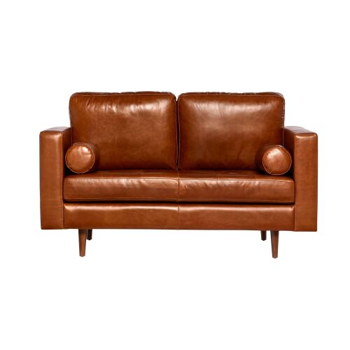 1 x Missy Two Seat Leather Sofa - Brown