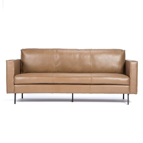 1 x Fletcher Leather Sofa - Cool Brown