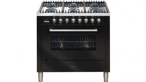 ILVE 900mm Dual-Fuel Freestanding Cooker - Gloss Black HNFF906WMP/N