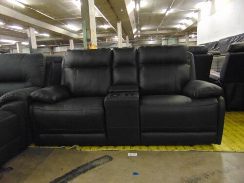 KOKO (ISOFA) 2 seater Leather recliner Lounge - BLACK