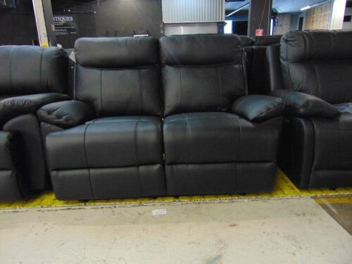 DNL KOKO (ISOFA) 2 seater Leather recliner Lounge - BLACK