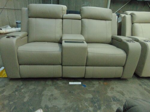 PORTMAN Leather 2 SEATER Lounge with electric recliner*MIS