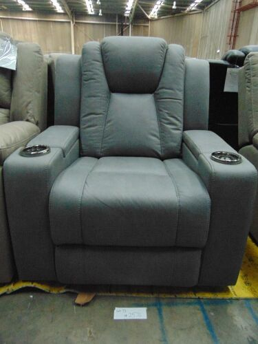 WHITEHAVEN Fabric single seater electric recliner- ASH