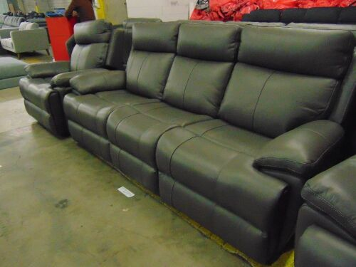 HAILEBURY Electric Reclining Leather 3 SEATER + 2 x Reclining Single Seater * BLACK
