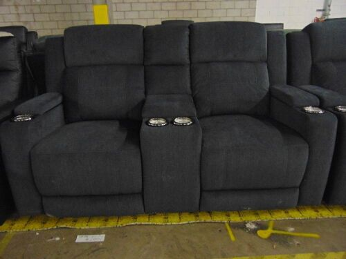 LEMAN Fabric 2 seater electric recliner Lounge / *EBONY