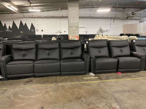 DNL Encore Leather 3 Seater Recliner Sofa +Two Seater Recliner Sofa - Black