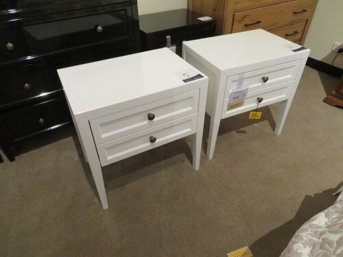 2 x Eildon Bedside Tables, 2 Drawer, colour: Gloss White