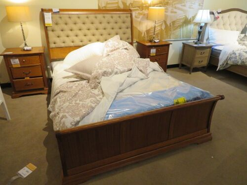Juliet Queen Timber Bed Frame, Upholstered Bedhead, with Slumberland Soho Mattress & assorted Bed Linen