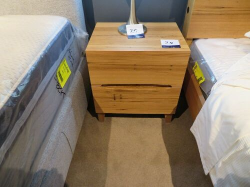 My Design Bedside Table, 2 Drawer with Cut Out Handles