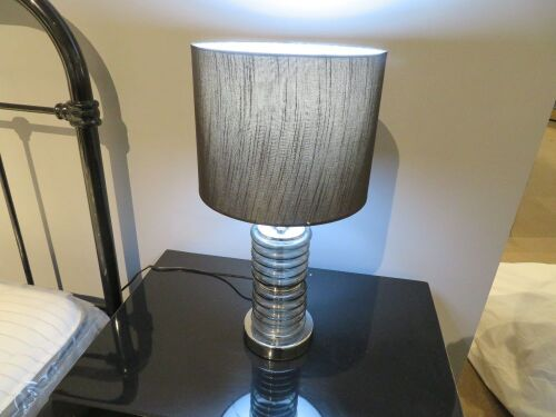 2 x Side Lamps, Glass Base with Black Shade