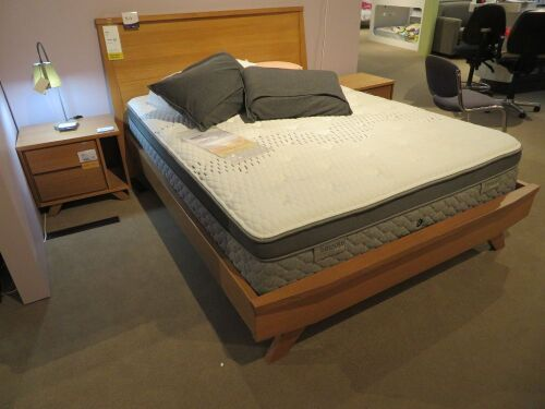 Jasper Queen Bed Frame, Natural Timber, with Bespoke Plush/Medium Mattress & assorted Pillows, Bedhead: 1700 x 1130mm H
