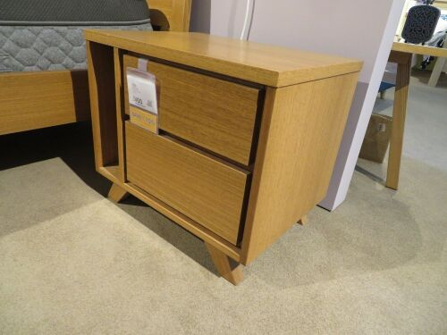 2 x Jasper Bedside Tables, 2 Drawer & Magazine Rack, 600 x 450 x 500mm H
