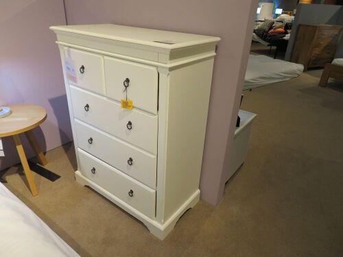 Corsica Tallboy, 5 Drawer, colour: White, 900 x 450 x 1150mm H