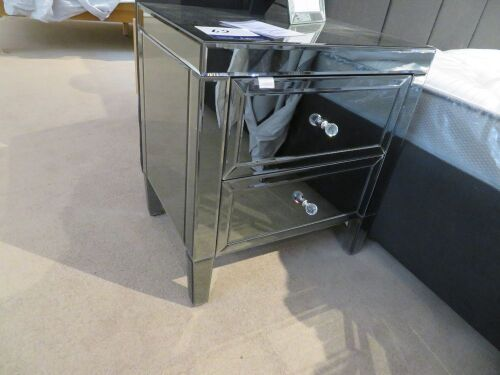 2 x Maison Mirrored Bedside Tables with Crystal Handles, 550 x 420 x 600mm H