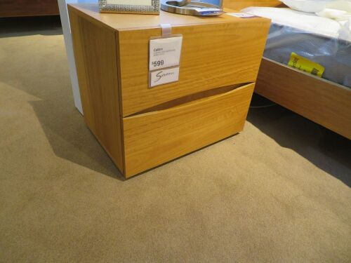 2 x Calibre Bedside Tables, 2 Drawer, colour: Honey, 600 x 430 x 500mm H