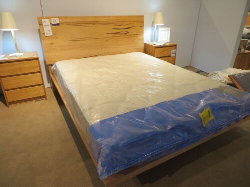 Iris Deluxe Queen Timber Bed Frame with Floating base, Natural Finish, with Slumberland Soho Mattress & assorted Bedding