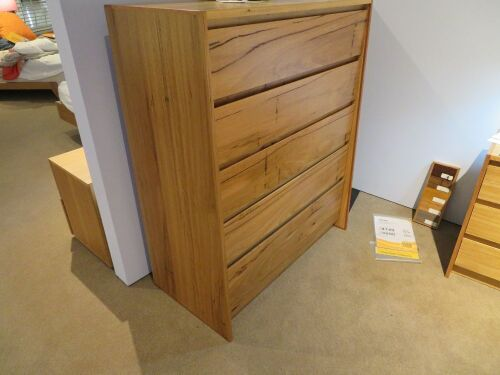 Iris Tallboy, 5 Drawer, Natural Finish, 1000 x 450 x 1200mm H