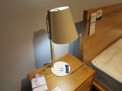 2 x Bae Side Lamps, colour: White & Timber, 550mm H