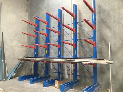 Canterlever Style Stock Racking, 5 Upright Frames, 20 Arms (16T Total rack Capacity)