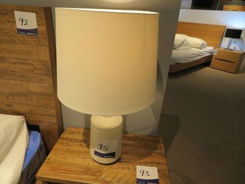 2 x Peggy Side Lamps, White Ceramic Base, White Shade, 680mm H