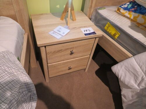 Polo 2 Drawer Bedside Table in Light Oak, 520 x 420 x 550mm H