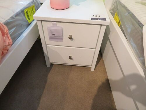 Polo Bedside Table, 2 Drawer, colour: White, 520 x 420 x 550mm H