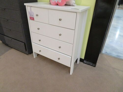 Polo Tallboy, 5 Drawer, colour: White, 950 x 420 x 1100mm H