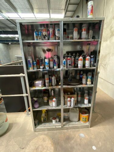 Galvanised Storage Unit with Assorted used cans of Paint