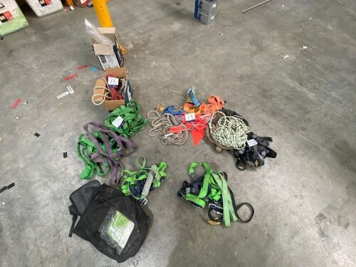 3 x Assorted Harnesses, 3 x associated Lifting Slings, various Rope, 2 x Ratchet Tie Downs