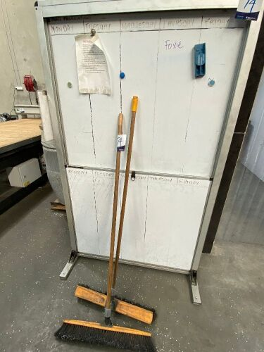 Whiteboard & 2 x Brooms
