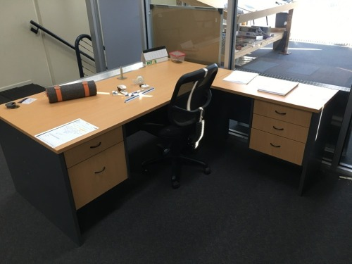 Corner Desk, 1800 x 1800mm, 5 Drawer, Timber Laminate with Office Chair
