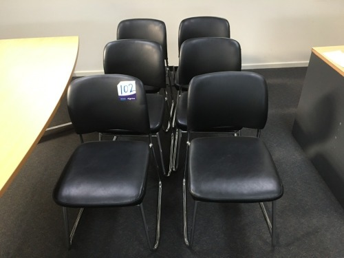 6 x Leather, Chrome Base Chairs