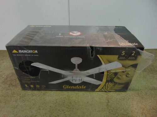 Mercator 'Glendale' 1200mm Ceiling Fan with 15W LED Light - White