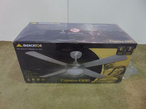 Mercator 'Caprice 1300' Ceiling Fan with 20W LED Light - Brushed Chrome