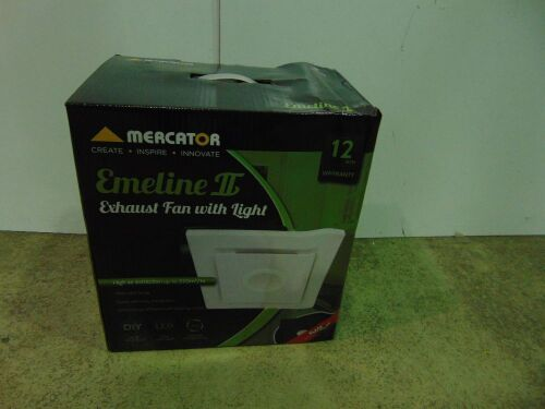 Mercator 'Emeline II' Exhaust Fan with LED Light - Large - Square - White