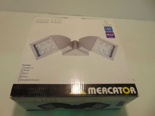 Mercator 'Zone' 2 x12W LED Eco-Lite Outdoor Floodlight - Silver