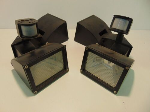 2 X Mercator 'Zone' Double 150W Halogen Exterior Light with Motion Sensor - Black